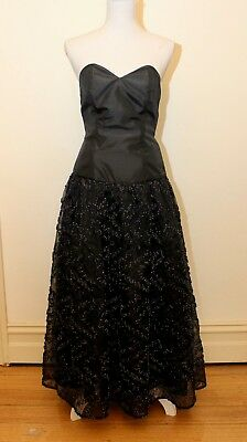 Vintage Sonia Black Cocktail Dress, 1980's - Size 10 - Made in Italy - VGC