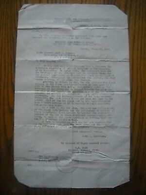 1919 WWI US Army John J. Pershing Letter to General Hersey