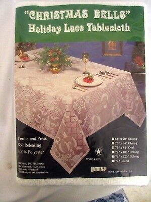 """Christmas Bells Holiday Lace Tablecloth 72"""" X 84"""" Oval New In Package"""
