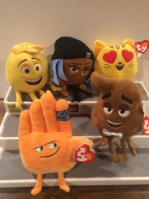 New Ty Emoji Movie Plush Beanies Set Gene Jailbreak Cat Heart Eyes Poop Hi5 Hand