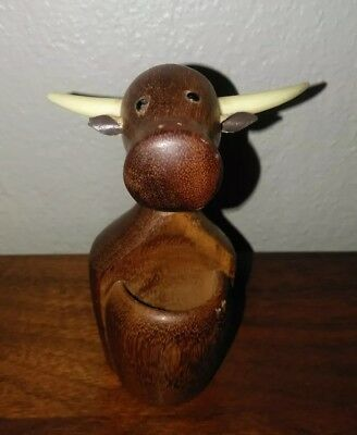 Vintage Danish modern mid century mcm wood cow toothpick holder teak or walnut