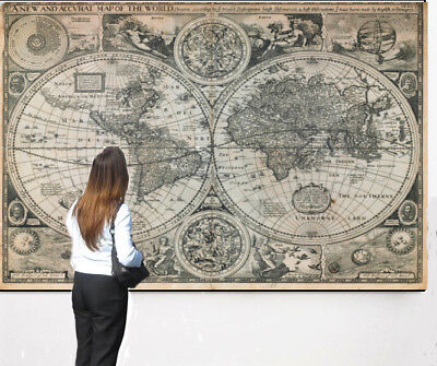 Vintage National Geographic Mega Mural 1651 Map of the World Giant Over 8' Long