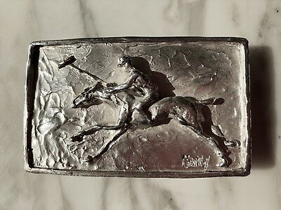 Sterling Silver Polo Pony Rider Equestrian Belt Buckle Handmade One Of A Kind