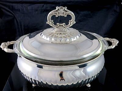 Vintage HOSTESS PLATE Silverplate COVERED ROUND CASSEROLE W/PYREX GLASS