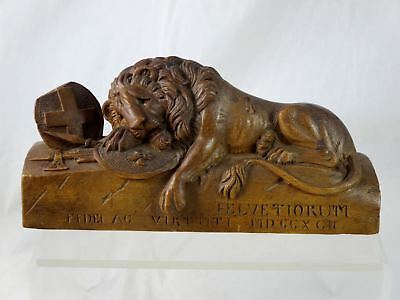 Antique 1900s SWISS Black Forest LION OF LUCERNE Walnut Carving 9.5""