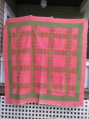 Antique Late 1800's Quilt Salmon- Red-Mustard-Green Calico- Display -Cutter