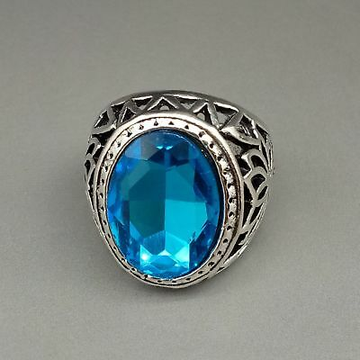 Chinese Exquisite Tibetan silver inlaid Light blue zircon Fashion Hollow Ring
