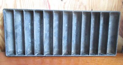 Antique CORN BREAD STICK PAN Hand Made Layered Tin 12 Compartments Folded Edges