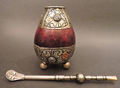 Vintage Industria Argentina Yerba Mate Gourd And Bombilla Alpaca Silver And Gold