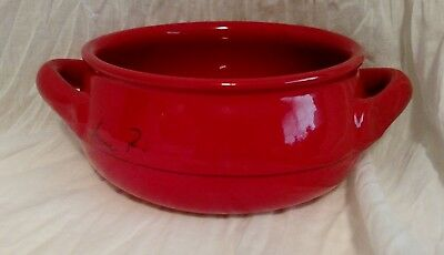 HTF Mamma Ro Italy Pottery Terra Cotta Red Chili Soup Bowl w Handles