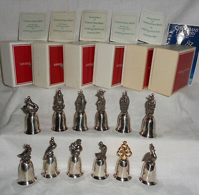 Vtg Reed and Barton 12 Days of Christmas Silver plate Bells Complete w Boxes