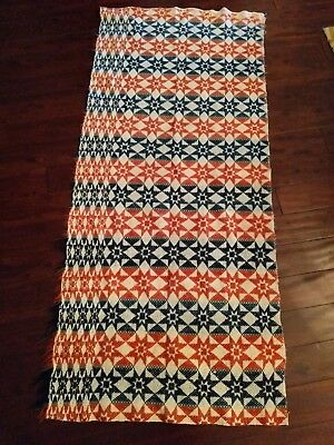 4-Color Early Antique 19th Century Star Coverlet Half Size