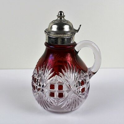 Antique Victorian Cranberry Cut-to-Clear Glass Syrup Diamond Fan Design