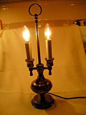 Vintage Brass 2 Arm Candle Light Electric Bouillotte Table Lamp Colonial Style
