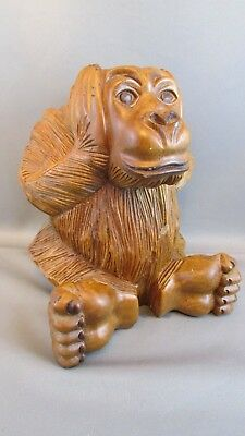"""Antique Hand Carved Very Detailed Wooden Gorilla Ape Statue """"hear No Evil"""""""