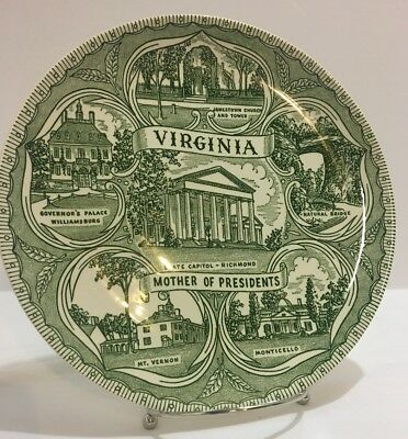 Virginia collector plate, Mother of presidents,white/green 9.5 inch, Mt Vernon