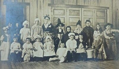 Antique HALLOWEEN Children Costume Party RPPC Postcard Witch CAT Goblin CYCO