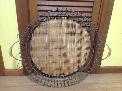 Large Heavy Cane And Metal Round Tray...serving...display..hanging