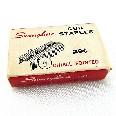 Vintage Swingline Cub Staples Full Box 1000 ~ Made in the USA