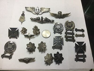 Vintage Sterling Silver Military WWII RIFLE Wings, NAVY,AIRFORCE, SUBMARINE LOT