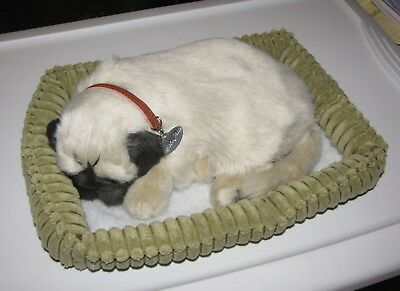 Perfect Petzzz Realistic Huggable Breathing Calming Pet Pug Dog Puppy in Bed