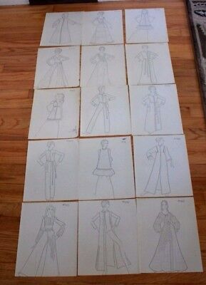 Vintage Fashion Drawing Copies Lot of 15 1960's 1970's