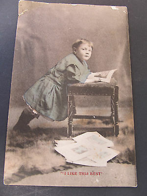 Antique postcard - I like this best - Charles Voiley London - Posted Melb 1910