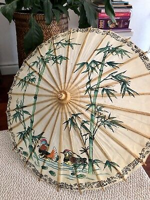 Vintage Asian Oriental Chinese Japanese Rice Paper Umbrella Chinoiserie Wedding
