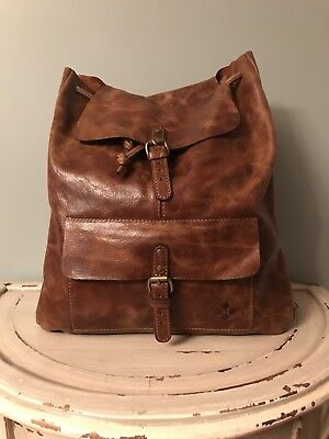 Patricia Nash Atrani Backpack Cognac Distressed Vintage Leather Collection NEW