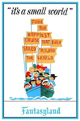 """DISNEY COLLECTOR'S POSTER 12"""" x 18"""" - DISNEYLAND - ITS A SMALL WORLD"""
