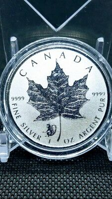 2016 1 oz .9999 Reverse Proof Silver Canadian Maple Leaf Coin Monkey Privy