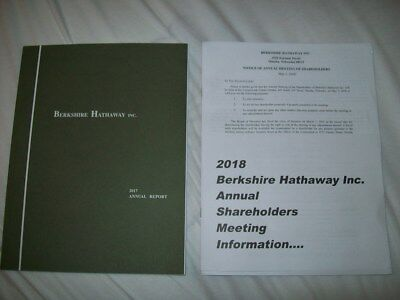 2017 Berkshire Hathaway Annual Report & 2018 Proxy W/Shareholdr Badge Order Form