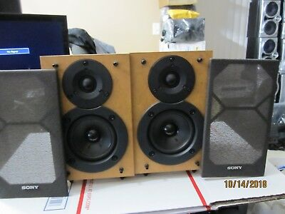 Sony Bookshelf Speakers Pair 2 SS CEX1 Brown Surround Home Theater Two