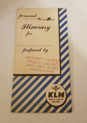 Royal Dutch Airlines K.L.M. Pamphlet And Map