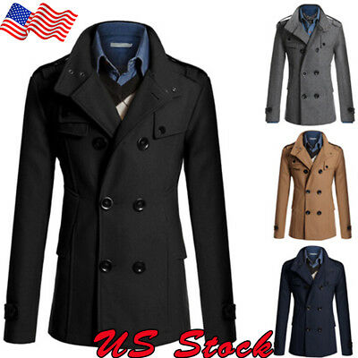 US Men Winter Warm Double Breasted Trench Coat Outwear Peacoat Business Jacket