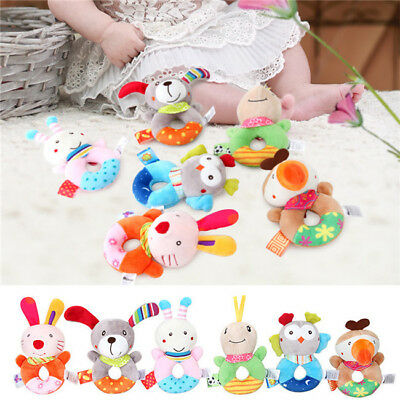 Baby Plush Rattle Newborn Ring Bell Hand Grasp Toys Soft Infant Crib Dolls BS