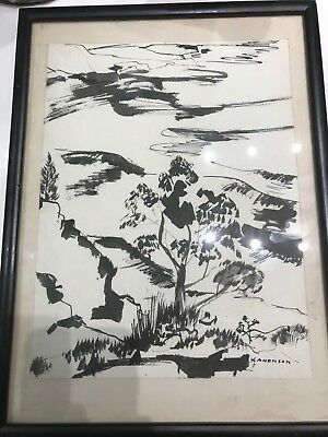 Estate Mid Century Ink Watercolor Painting By Lenn Kanenson Listed Artist