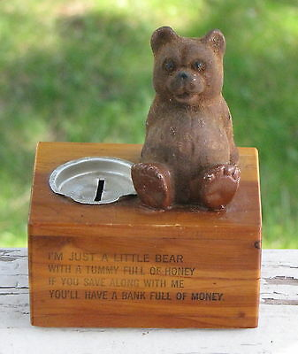 Vtg Black Hills South Dakota SD Cedar Box Brown Bear Bank Tummy Full Honey Poem