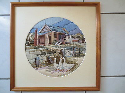 Long Stitch Picture Completed & Framed Farm House And Geese