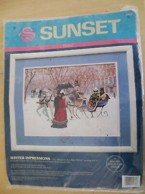 DIMENSIONS SUNSET WINTER IMPRESSIONS ALAN MALEY CREWEL CRAFT UNOPENED (last time