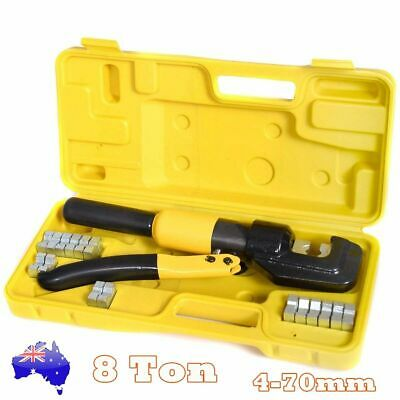 8 Ton Hydraulic Crimper Lug Cable Wire Crimping 9 Die 4mm-70mm Force Tool Kit AU