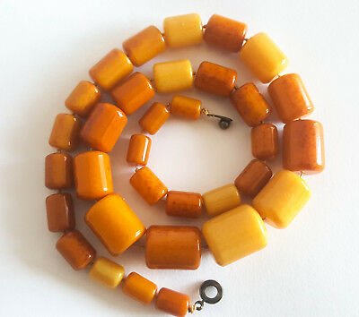 68g Antique Egg Yolk Butterscotch Natural Baltic Amber Necklace Hupo vintageアンバー
