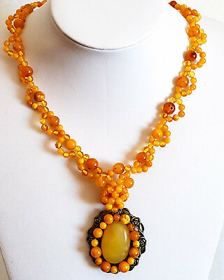 39g Antique Egg Yolk Butterscotch Natural Baltic Amber Necklace with pendant