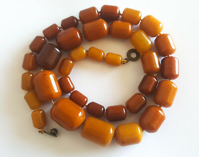 Antique Egg Yolk Butterscotch Natural Baltic Amber Necklace vintage Bernstein 琥珀