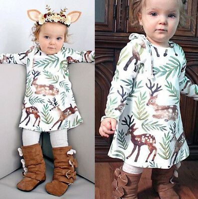 USA Toddler Kids Baby Girls Princess Dress Christmas Party Dress Outfits Clothes