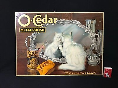 C.1910 Litho O-Cedar Metal Polish Free Standing Shop Display Show Card With Cat.