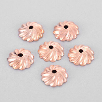 90pcs/10g Rose Gold Brass Flower Bead Caps More-Petal Bumpy Findings Craft 7x2mm