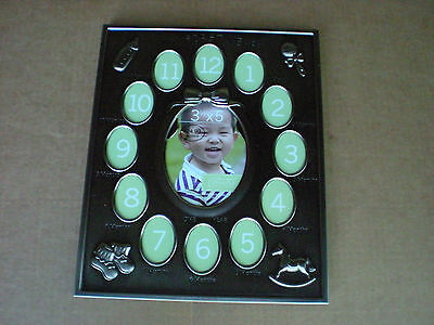 Babys First Year Picture Frame Green Tea Gallery Pewter Finish
