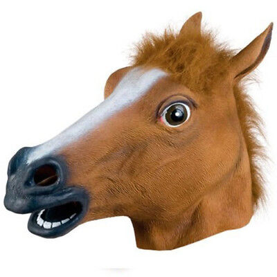 New Horse Head Mask Latex Prop Style Toys Party Halloween #