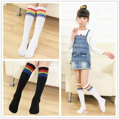 Kids Boys Girls Rainbow Striped Sock Soft Knee High Socks Soccer Sports Socks AU